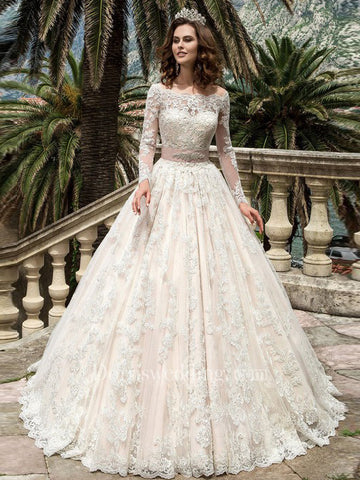 2018 Chic A-line Off-the-Shoulder Long Sleeve Ivory Wedding Dress Modest Lace Wedding Dresses AMY2308