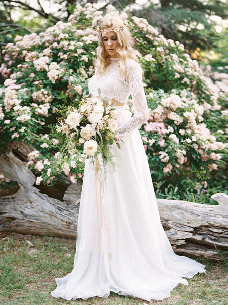 2018 Chic A-line Two Pieces Bateau Long Sleeve Ivory Wedding Dress Modest Lace Wedding Dresses AMY2309