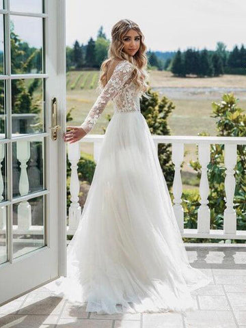 2018 Chic A-line Long Sleeve Lace See Through Wedding Dresses Backless Country Wedding Dress AMY2310