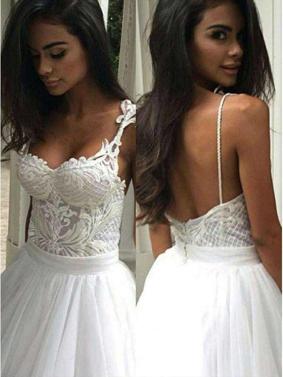 A-line Spaghetti Strap Lace Bodice Ball Gown Wedding Dresses AMY2314
