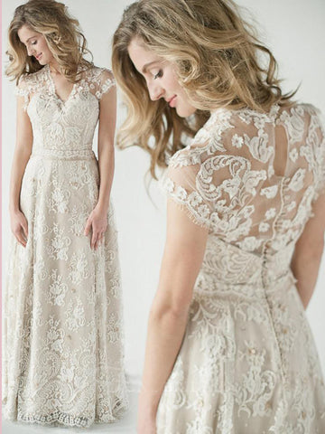 2019 Chic A-line V neck Lace Bodice Wedding Dresses AMY2315