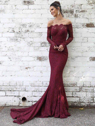 Trumpet/Mermaid Burgundy Prom Dresses Lace Long Modest Evening Dress AMY2316
