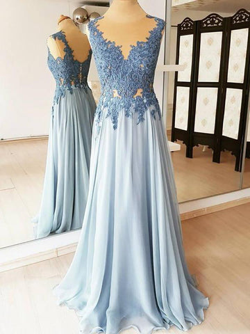 A-line Vintage Prom Dresses Blue Lace Long Elegant Evening Dress AMY2317