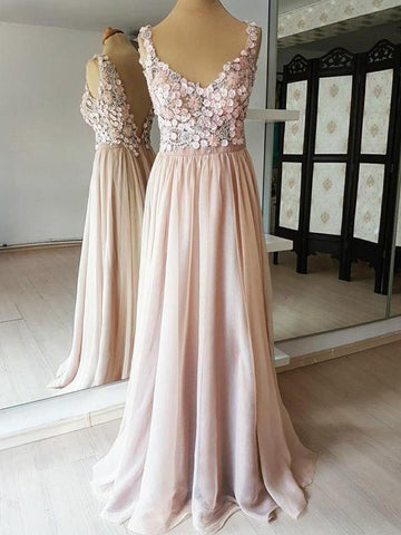 A-line Vintage Prom Dresses With Applique Pink Long Evening Dress AMY2321
