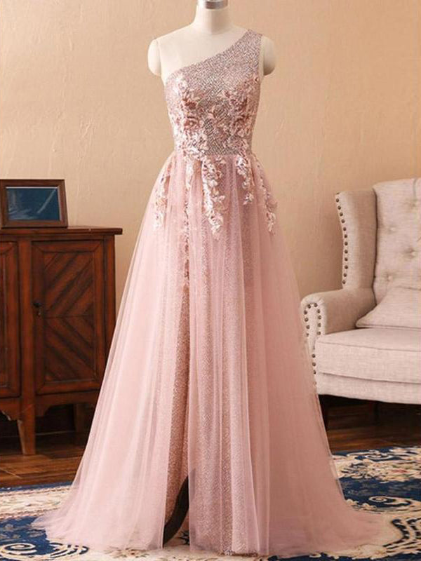 2018 Chic A-line One Shoulder Sparkly Prom Dress Floor Length Prom Dresses Sleeveless Evening Dresses AMY2327