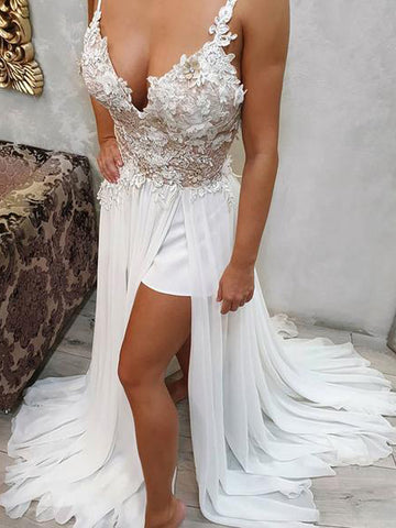 A-line Spaghetti Straps Vintage Prom Dresses With Applique Lace Evening Dress AMY2333