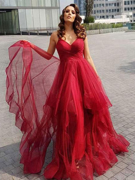 A-line Spaghetti Straps Cheap Red Prom Dresses Tulle Long Prom Dress Evening Dress AMY2338