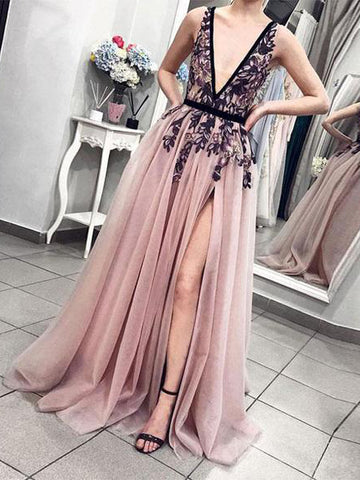 A-line Deep V Neck Prom Dresses With Applique Modest Evening Dress AMY2339