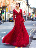 2018 Red A-line Prom Dresses V neck Beading Lace Modest Long Prom Dress Evening Dresses AMY233
