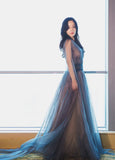2018 A-line Prom Dresses Blue V neck Tulle Modest Long Prom Dress Evening Dresses AMY234
