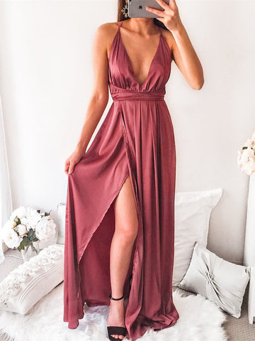 A-line Spaghetti Straps Prom Dresses With Silt Simple Cheap Evening Gowns AMY2346