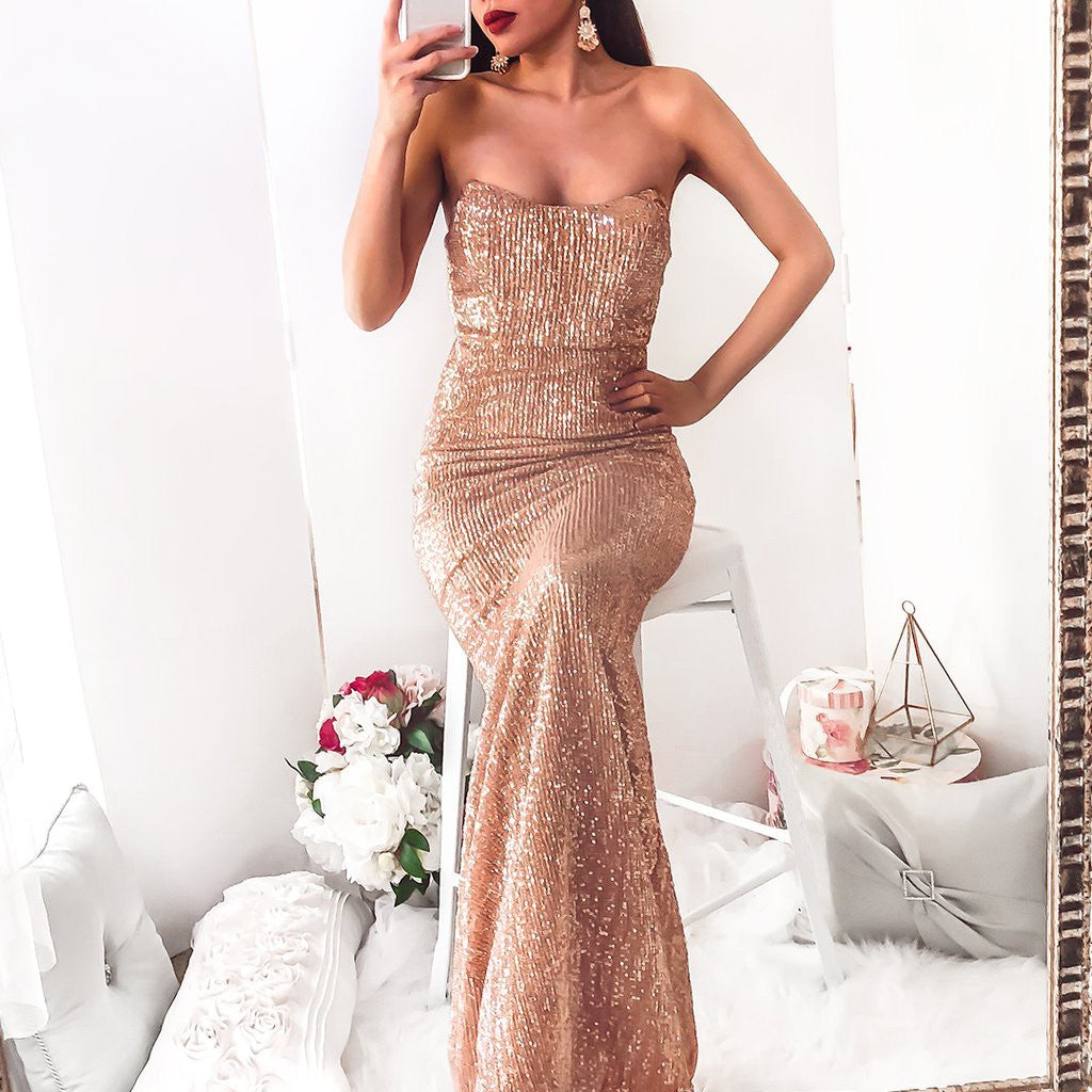 fe908166 ... 2018 Chic Trumpet/Mermaid Strapless Prom Dress Floor Length Sparkly  Prom Dress Evening Dresses AMY2348 ...