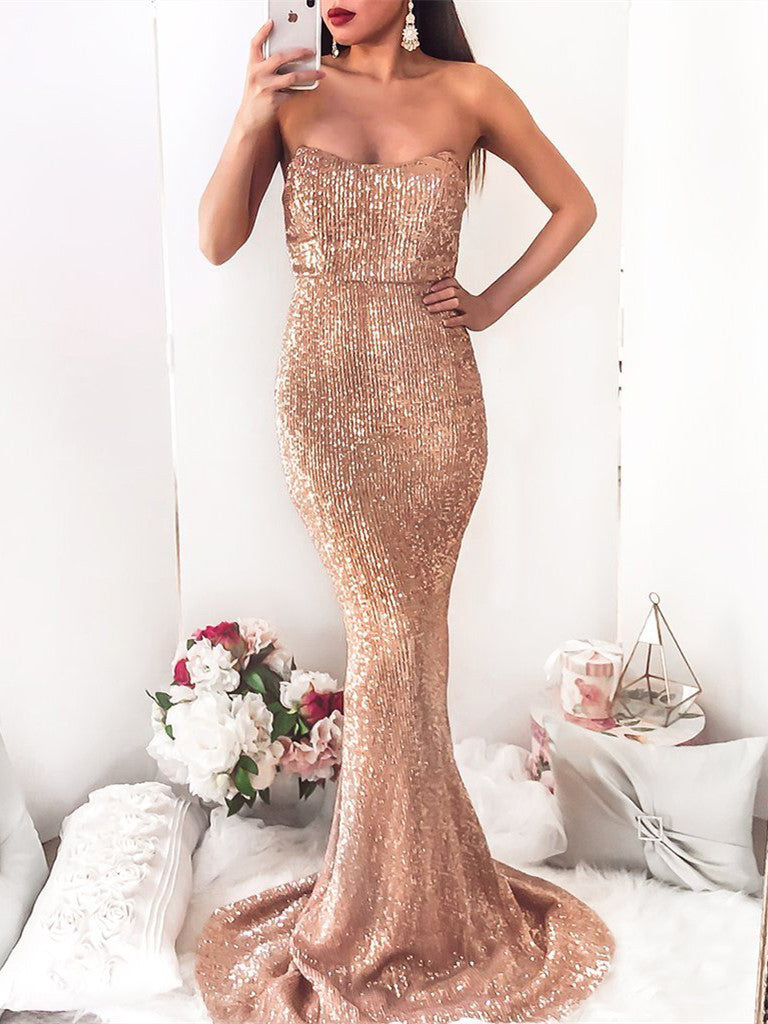 2018 Chic Trumpet/Mermaid Strapless Prom Dress Floor Length Sparkly Prom Dress Evening Dresses AMY2348