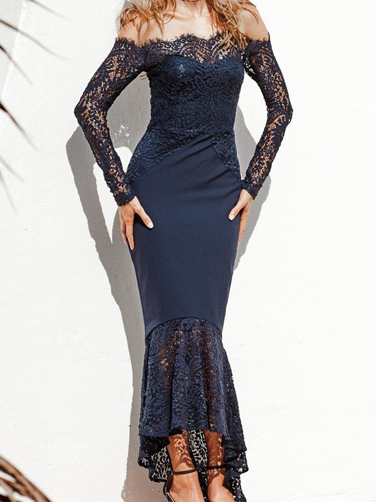 2019 Chic Trumpet/Mermaid Off-the-Shoulder Asymmetrical Prom Dress  Lace Prom Dress Dark Navy Evening Dresses AMY2352