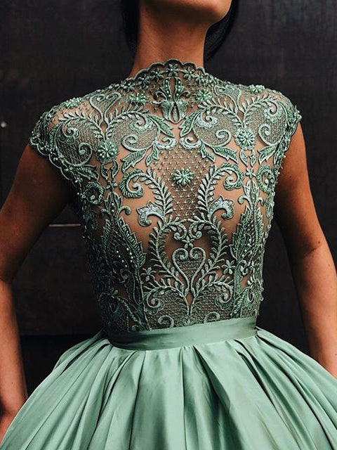 2018 Chic A-line High Neck Lace Prom Dress Floor Length Prom Dress Modest Evening Dresses AMY2363