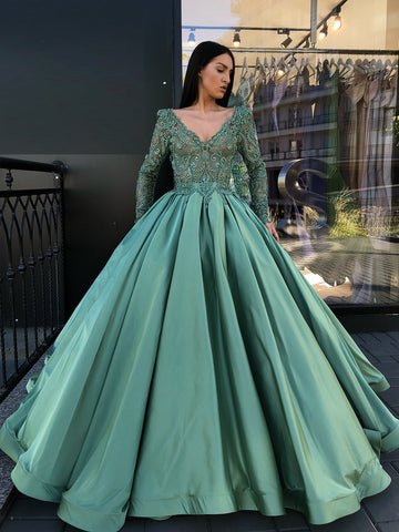 A-line V neck Green Prom Dresses Long Sleeve Lace Prom Dress Evening Dress AMY2372