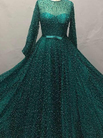 2018 Chic A-line Scoop Dark Green Long Sleeve Prom Dress Beading Floor Length Prom Dress Modest Evening Dresses AMY2376