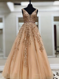 2019 Chic A-line V neck Long Prom Dresses Applique Prom Dress Evening Dresses AMY2380