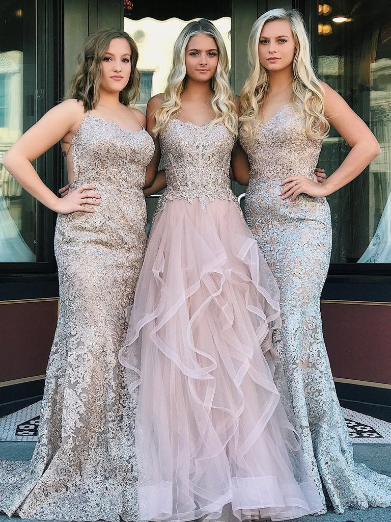 2018 Chic A-line Spaghetti Straps Lace Prom Dress Floor Length Prom Dress Pink Evening Dresses AMY2385