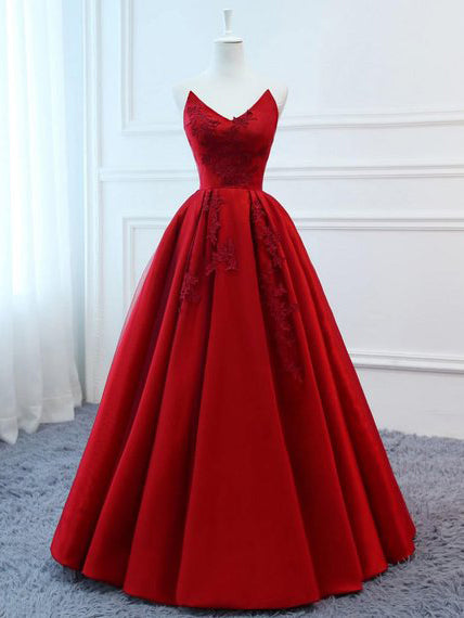2019 Chic A-line Deep V neck Long Prom Dresses Applique Red Prom Dress Evening Dresses AMY2390
