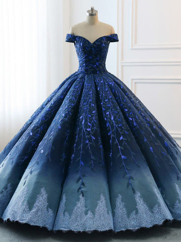 High Quality 2018 Chic Ball Gonws  Off-the-Shoulder Ombre Prom Dress Blue Shade Sequins Women Bride Gown Formal Dresses AMY2392