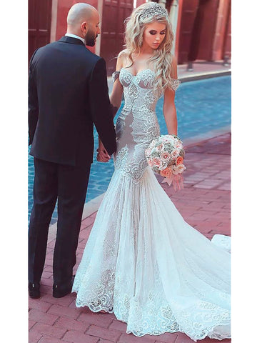 2018 Chic Trumpet/Mermaid Off-the-Shoulder Lace Wedding Bridal Wedding Dresses AMY2402