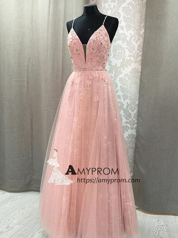 Pink Lace Spaghetti Straps Prom Dress Beautiful Long Prom Gowns Elegant Evening Gowns AMY2404