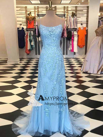Sheath/Column Spaghetti Straps Prom Dress Light Sky Blue Long Prom Dress Elegant Evening Gowns AMY2406