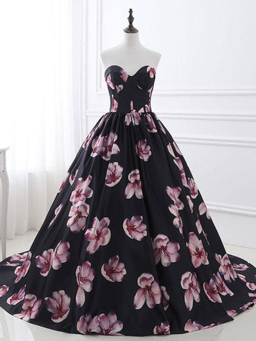 2018 Black Prom Dresses Long Sweetheart Print Modest Long Prom Dress Evening Dresses AMY240