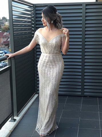 Sheath/Column Scoop Silver Prom Dresses With Rhinestone Modest Evening Gowns AMY2411