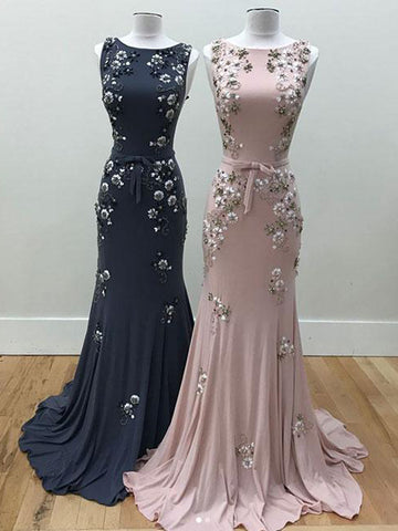 Chic Beautiful Prom Dresses Long Mermaid Pink Bateau Flower Prom Dress Evening Dresses AMY241