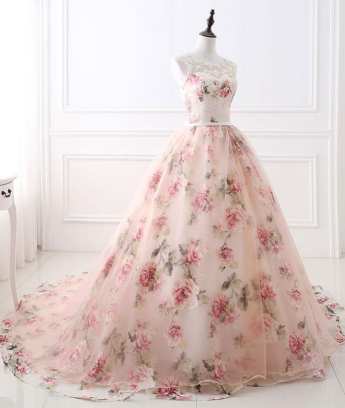 Flower Wedding Gown: Chic Ball Gowns Prom Dresses Long Pearl Pink Flower Prom