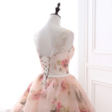 Chic Ball Gowns Prom Dresses Long Pearl Pink Flower Prom Dress Evening Dresses AMY242