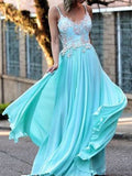 2018 Chic A-line Spaghetti Straps Prom Dress Floor Length Blue Lace Prom Dress Evening Dresses AMY2420