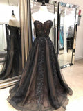 2018 Chic A-line Sweetheart Prom Dress Floor Length Beading Black Prom Dress Evening Dresses AMY2425