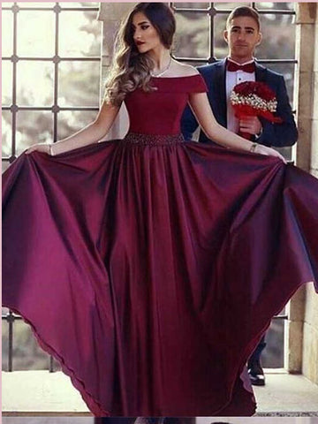 Chic A-line Off-the-Shoulder Prom Dresses Burgundy Beading Long Prom Dress Evening Dress AMY2438
