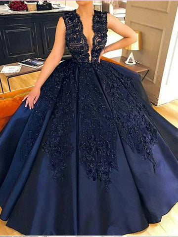 Chic A-line Deep V Prom Dresses Dark Navy Lace Long Prom Dress Evening Dress AMY2441