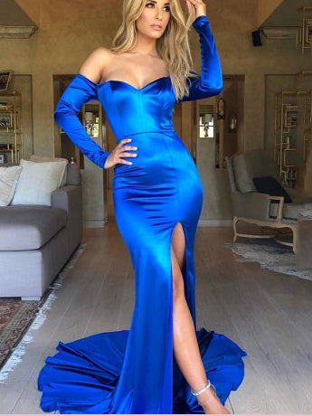 Trumpet/Mermaid Off-the-Shoulder Prom Dresses Royal Blue Simple Long Prom Dress Evening Dress AMY2446