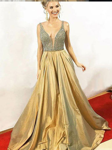 2019 A-line Straps Prom Dresses Beading Gold Long Prom Dress Evening Dress AMY2450