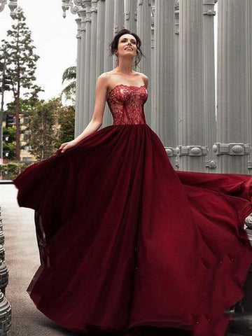 2019 A-line Strapless Prom Dresses Lace Burgundy Long Prom Dress Evening Dress AMY2457