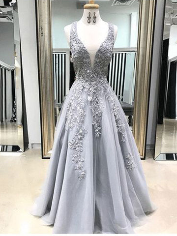 Chic A-line Straps Lace Prom Dresses Silver Applique Long Prom Dress Evening Dress AMY2459