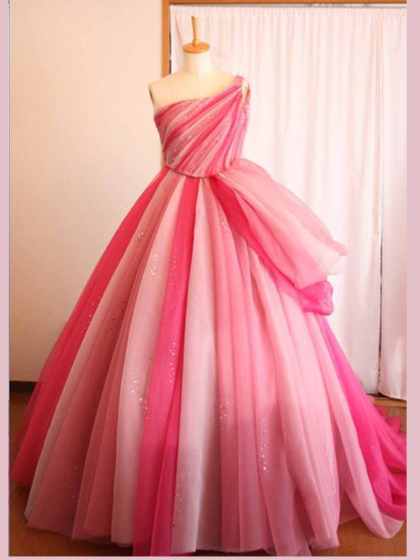 Chic A Line One Shoulder Ombre Prom Dresses Tulle Pink Long Prom