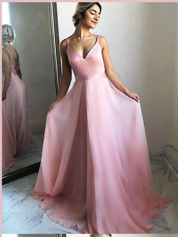 Chic A-line Spaghetti Straps Pink Prom Dresses Chiffon Pink Long Prom Dress Evening Dress AMY2465