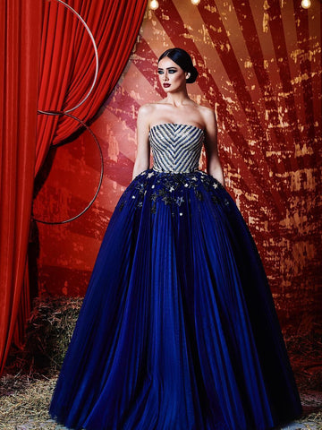 Chic A-line Strapless Royal Blue Beading Prom Dresses Tulle Long Prom Dress Evening Dress AMY2468
