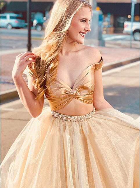 2019 A-line Two Pieces Off-the-Shoulder Prom Dresses Ruffles Gold Long Prom Dress Evening Dress AMY2469