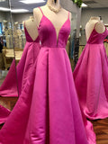 A-line Spaghetti Straps Fuchsia Prom Dresses Simple Cheap Evening Gowns AMY2472
