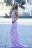 2019 Trumpet/Mermaid Straps Prom Dresses Cheap Lace Pink Long Prom Dress Evening Dress AMY2476