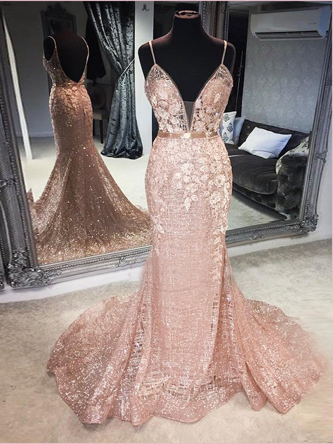 2019 Trumpet/Mermaid Spaghetti Straps Prom Dresses Sparkly Long Prom Dress Evening Dress AMY2479
