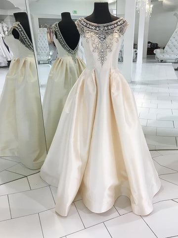 2019 A-line Scoop Ivory Prom Dresses Beading Long Prom Dress Evening Dress AMY2480