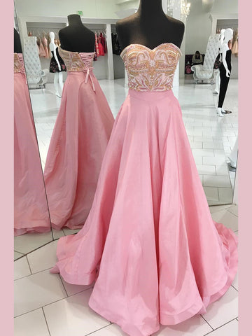 2019 A-line Sweetheart Pink Prom Dresses Beading Long Prom Dress Evening Dress AMY2481